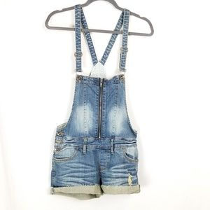 Dollhouse   distressed jean short overalls 7